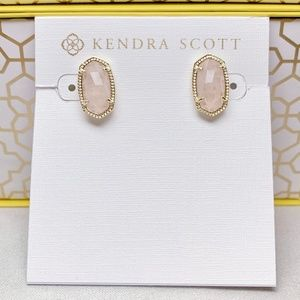 New Kendra Scott Ellie Gold Rose Quartz Stud